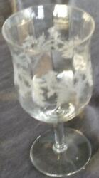 Antique Etched Glass Footed Goblet Special Thistle Pattern - Tiffin-franciscan