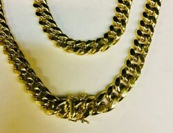 14k Solid Yellow Gold Miami Cuban Curb Link 9 7 Mm 32 Grams Chain/bracelet