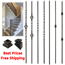 Iron Stair Balusters Metal Stair Spindles Satin Black Hollow Wrought Iron