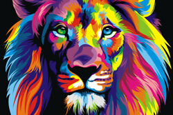 Lion Head Colorful Art Wall Indoor Room Outdoor Poster POSTER 24x36