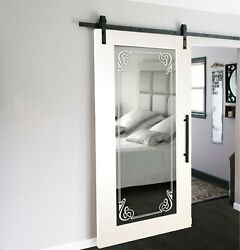 Mirrored Sliding Barn Door With Mirror In 12 Different Frosted Design +hardware