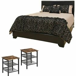 3 Piece Bedroom Set Queen Size Black Leather Bed 2 Rustic End Tables Furniture