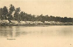 Early Vintage Postcard Singapore, Thatched Huts At Water's Edge, Unposted