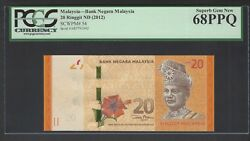 Malaysia 20 Ringgit Nd 2012 P54 Uncirculated Graded 68