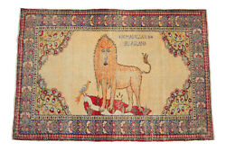 Primitive Lion Pattern Rug Hand Knotted Turkish Area Rug Wall Rug - 4and0391 X 6and039