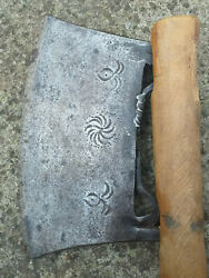 Antique Ottoman Rare Large Steel Axe Hand Forged Primitive