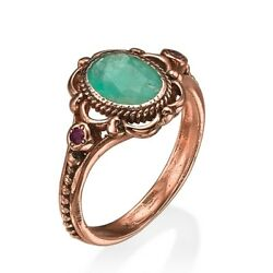 Raw Emerald And Garnet 14k Rose Gold Baroque Style Ring