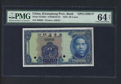 China Kwangtung Prov .bank 50 Cents 1935 Ps2438s Specimen Choice Uncirculated