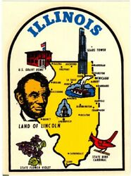 Original Vintage Travel Decal Illinois State Map Lincoln Luggage Rv Old Car Van