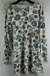 J Jill Womens Long Sleeve Floral Scoop Neck Blouse Size Small