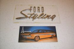 1960and039s 63 64 65 66 And039ford Stylingand039 License Plate Aurora Concept Car Ultra Rare