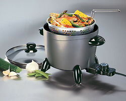 Small Electric Deep Fryer with Fry Basket Hot Oil Frying Pot Home Cooker Steamer