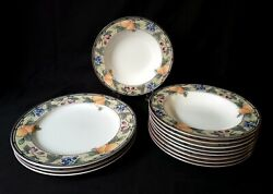 12pc Mikasa Intaglio Garden Harvest Cac29 Stonewear Dinner Plates And Soup Bowls