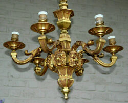 Large French Antique Mazarin Bronze Lions Heads 6 Arms Chandelier