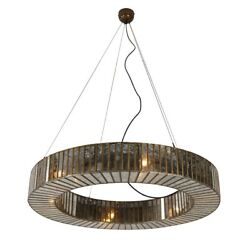 35 W Round Chandelier Industrial Iron In Antique Brass Finish With Glass