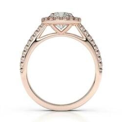 Ladies 0.98 Ct D Vs1 Diamond Ring Round Cut 4 Prongs 14k Red Gold Side Stones