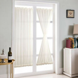 2pcs French Door Curtain Sheer White Voile Curtain Panel For Sliding Glass Doors