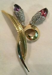 14k Gold Floral Diamond Brooch Pin With Amethyst And Tourmaline 68 Diamonds .9 Tcw