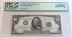 Fr. 2110-g 1950-a 50 Star Frn Federal Reserve Note Pcgs 64ppq Top Pop