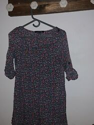 Forever 21 Floral long cute Tunic Medium Blue Layer Button Sleeve
