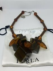 Furla Lucite Cluster Beaded Chunky Necklace Mede In Italy