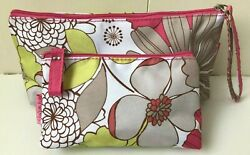 2 CLINIQUE MAKEUP BAGS COSMETIC FLORAL WHITE PINK GREEN BEIGE TAN $10.00