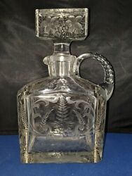 Etched Grapes Crystal Glass Rectangular One Handled Decanter Carafe Approx 9.5h