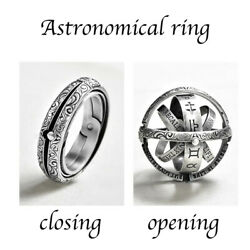 Silver Astronomical Ring for men women metal ball Creative Complex Rotating