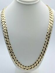 14k Yellow Gold Solid Curb Cuban Link Chain Necklace 24 9mm 51.5 Grams