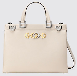 Gucci Zumi Medium White Grainy Leather GG Gold Logo Top Handle Tote Shoulder Bag