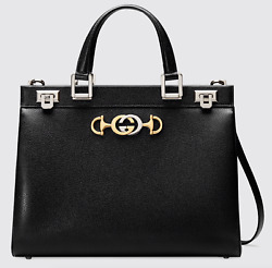 Gucci Zumi Medium Black Grainy Leather GG Gold Logo Top Handle Tote Shoulder Bag