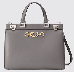 Gucci Zumi Medium Grey Grainy Leather GG Gold Logo Top Handle Tote Shoulder Bag