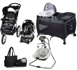Jogger Stroller With Car Seat Playard Swing Diaper Bag Set Baby Travel System