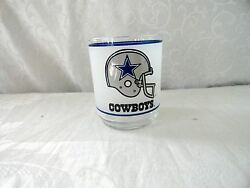 Dallas Cowboys Vintage Nfl Frosted Drinking Glass Cup Mobil Helmet - Set Of 4