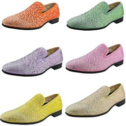 Bolano Snyder - Men's Slip On Loafer Dress Shoes w Rhinestones (6+ Colors Avail) $39.99