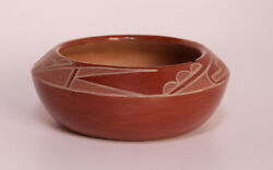 San Ildefonso Redware Pottery Jar By Rose Gonzales 6 X 2 C.1960s