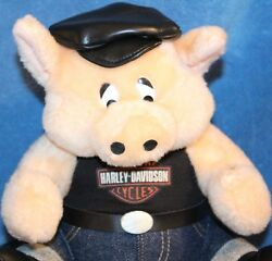 Harley-davidson Collectible Plush Pig In Jeans And Faux Leather Cap 1992