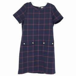 J Crew Size 6 Relaxed Printed Pocket Dress Shift Navy Plaid Short Sleeves