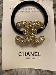 Chanel Gold Tone Chain Design & Crystals Ponytail Holder