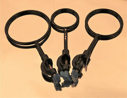 Cast Iron Flask Support Rings With Clamp Lab Stand Base Set Of 3 Id 2/2.5/3 New