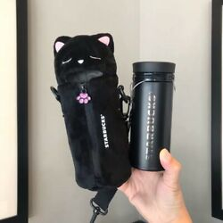 Starbucks 2019 China Black Thermos 8oz Stainless Tumbler And Cute Kitty Cover Set