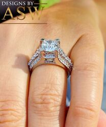14k Solid White Gold Round Moissanite And Natural Diamond Engagement Ring 3.50ct