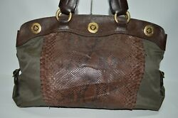 Fontana Italian Designer Large Python Embossed Leather Satchel Tote Bag  $127.08