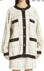 Oversized Tweed Bomber Jacket-with Tags- Rrp5,200 Aud