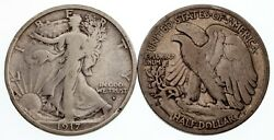 Lot Of 2 1917-d Obv + 1918-s Walking Liberty Half Dollars In Vg Condition