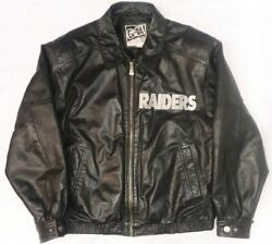 Vtg Carl Banks G-iii Oakland Raiders Embossed Embroidered Leather Jacket Sz L