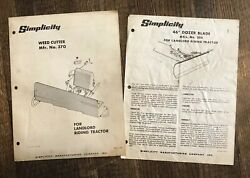"""Simplicity Garden Tractor Weed Cutter 370 Owner And Parts Manual And 46"""" Dozer Blade"""