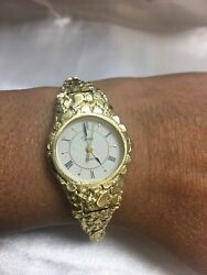 """14k Yellow Gold Nugget Wrist Watch With Timex Watch 7-7.25"""""""