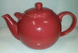 London Pottery 10 Cup Porcelain Red Globe Teapot Designed By David Birch