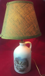 Vintage The Homestead In Winter Currier And Ives Jug Table Lamp